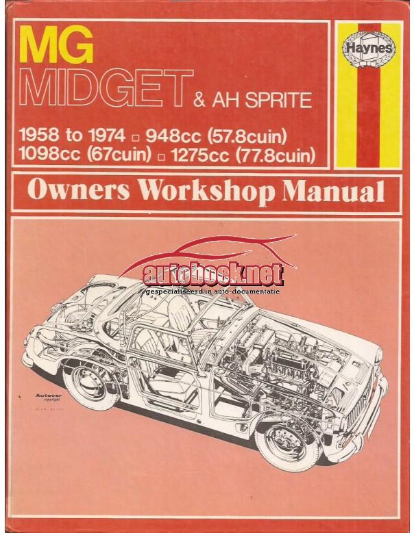 MG Midget / Austin-Healey Sprite Owners workshop manual J. Haynes Benzine Haynes UK 1958-1974 met gebruikssporen Engels