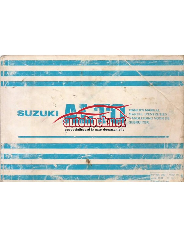 Suzuki Alto Instructieboekje   Benzine Fabrikant 81 met gebruikssporen   Nederlands/Frans/Engels