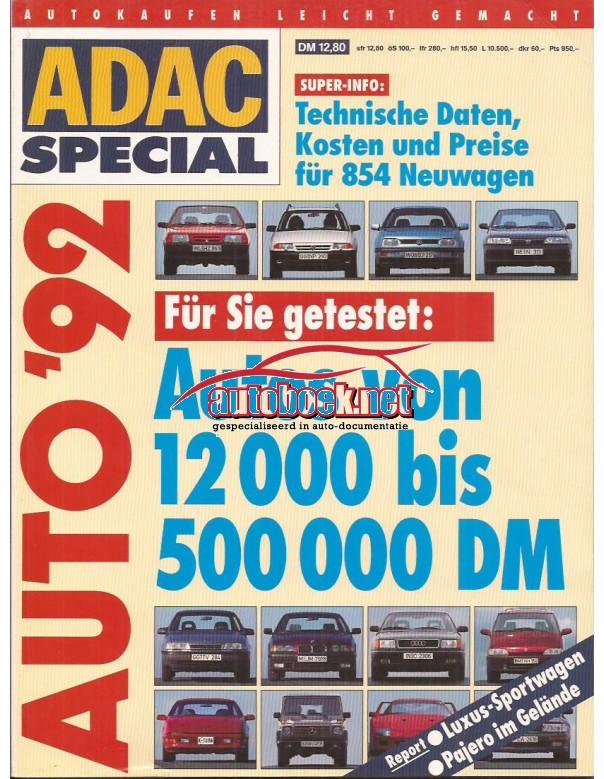 Jaarboek  Alle modellen ADAC Special 92 met gebruikssporen Duits
