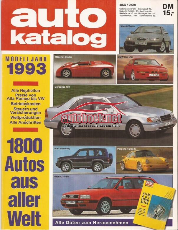 Jaarboek  Alle modellen Auto Katalog 93 met gebruikssporen Duits