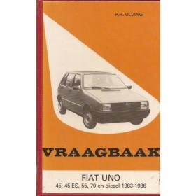 Fiat Uno Vraagbaak P. Olving  Benzine Kluwer 83-86 met gebruikssporen harde kaft, ex-bibliotheek  Nederlands