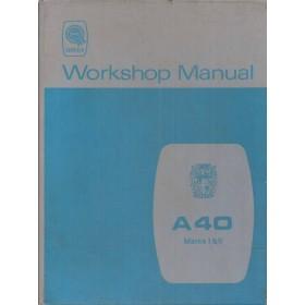 Austin A40 Werkplaatshandboek  Mk1/Mk2 Benzine Fabrikant 68 met gebruikssporen   Engels