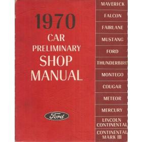 Ford/Lincoln Maverick/Falcon/Fairlane/Mustang/Thunderbird/Montego/Cougar/Meteor/Lincoln Continental Werkplaatshandboek   Benzine Fabrikant 70 ongebruikt   Engels