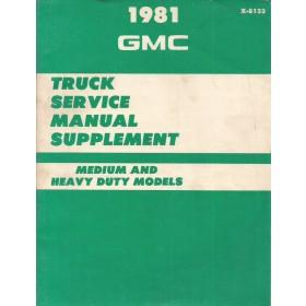 GMC Medium/Heavy Werkplaatshandboek   Benzine/Diesel Fabrikant 81 met gebruikssporen supplement  Engels