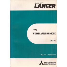 Mitsubishi Colt/Lancer Werkplaatshandboek   Benzine Fabrikant 77 met gebruikssporen chassis  Engels