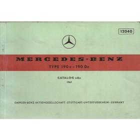 Mercedes-Benz 190c/Dc Onderdelengids   Benzine Fabrikant 61 met gebruikssporen   Duits/Engels/Frans/Spaans