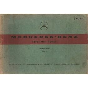 Mercedes-Benz 190c/Dc Onderdelengids   Benzine Fabrikant 63 met gebruikssporen   Duits/Engels/Frans/Spaans