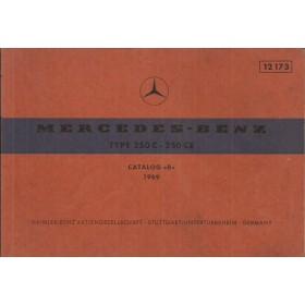Mercedes-Benz 250C/250CE Onderdelengids   Benzine Fabrikant 69 met gebruikssporen   Duits/Engels/Frans/Spaans