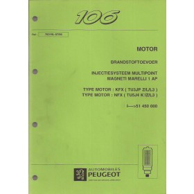 Peugeot 106 Werkplaatshandboek   Benzine Fabrikant 96 met gebruikssporen 8 delen (brandstoftoevoer, automatische versnellingsbak, airbag, alarm)  Nederlands