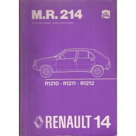 Renault 14 Werkplaatshandboek  R1210 R1211 R1212 Benzine Fabrikant 79 ongebruikt mechanisch gedeelte Nederlands