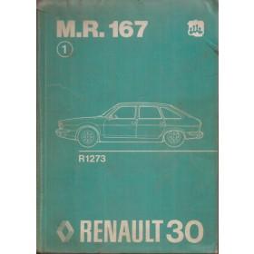 Renault 30 Werkplaatshandboek  R1273 Benzine Fabrikant 75 met gebruikssporen mechanisch gedeelte  Nederlands