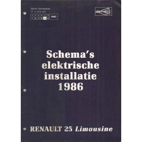 Renault 25 Limousine Werkplaatshandboek Benzine/Diesel Fabrikant 86 ongebruikt schema elektrische installatie Nederlands