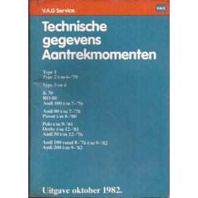 Volkswagen Audi zakboekje aantrekmomenten Fabrikant 1982 met gebruikssporen Nederlands