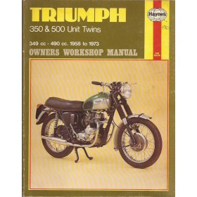 Triumph Twins  Owners Workshop Manual J. Haynes 350cc/500cc Benzine Haynes UK 58-73 met gebruikssporen   Engels