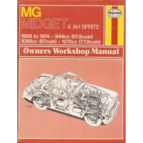 MG Midget / Austin-Healey Sprite Owners workshop manual J. Haynes Benzine Haynes UK 1958-1974 met gebruikssporen Engels