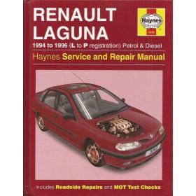 Renault Laguna Owners workshop manual J. Haynes Benzine/Diesel Haynes UK 1994-1996 met gebruikssporen Engels