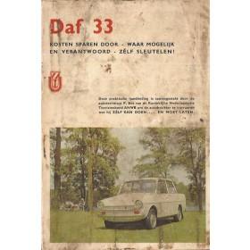 DAF 33 Kosten sparen door zelf sleutelen P. Bos  Benzine ANWB 65-67 met gebruikssporen vieze kaft  Nederlands