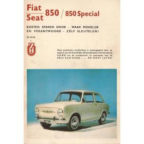 Fiat 850 Kosten sparen door zelf sleutelen P. Bos  Benzine ANWB 68-70 ongebruikt   Nederlands