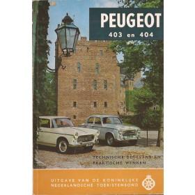 Peugeot 403/404 Technische gegevens en praktische wenken   Benzine ANWB 60 ongebruikt   Nederlands