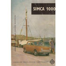 Simca 1000 Technische gegevens en praktische wenken P. Bos  Benzine ANWB 66 met gebruikssporen met notities  Nederlands