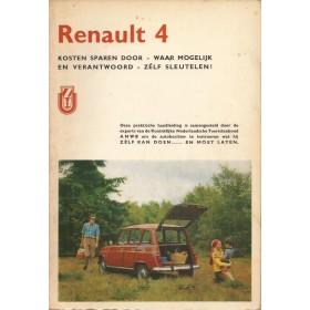 Renault 4 Kosten sparen door zelf sleutelen C. Stok Benzine ANWB ca 1970 met gebruikssporen Nederlands