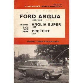 Ford Anglia/Prefect/Vans Motor Manual P. Olyslager 105E/123E/307E/309E Benzine Nelson 53-65 met gebruikssporen vouw in kaft  Engels
