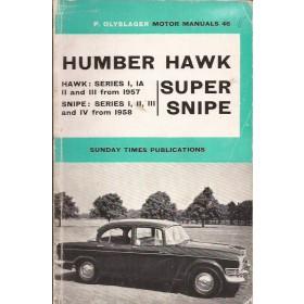 Humber Hawk Humber Super Snipe Motor Manual P. Olyslager Benzine Nelson 57-63 met gebruikssporen Engels