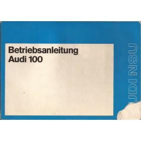 Audi 100 Instructieboekje   Benzine Fabrikant 71 met gebruikssporen hoekje van kaft af  Duits