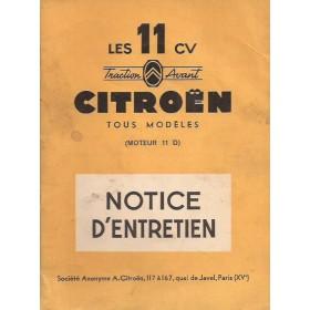 Citroen 11CV Traction Avant Instructieboekje   Benzine Fabrikant 55 met gebruikssporen   Frans