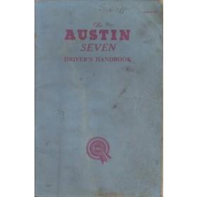 Austin Seven Instructieboekje   Benzine Fabrikant 61 met gebruikssporen inclusief prijslijst spare parts  Engels
