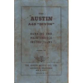 Austin A40 Instructieboekje  Devon Benzine Fabrikant 57 met gebruikssporen vouw in kaft  Engels