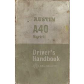 Austin A40 Instructieboekje  Mk2 Benzine Fabrikant 64 met gebruikssporen 2 losse pagina's  Engels