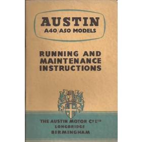 Austin A40/A50 Instructieboekje  Mk1 Benzine Fabrikant 55 ongebruikt   Engels
