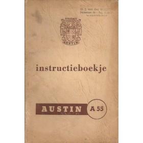 Austin A55 Cambridge Instructieboekje  Mk1 Benzine Fabrikant 58 met gebruikssporen kaft los van boekje  Nederlands