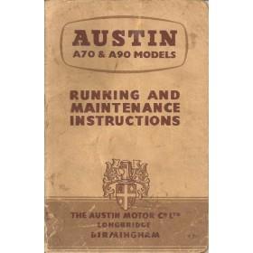 Austin A70/A90 Instructieboekje   Benzine Fabrikant 53 met gebruikssporen   Engels