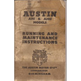 Austin A95/A105 Instructieboekje   Benzine Fabrikant 57 met gebruikssporen vochtschade  Engels