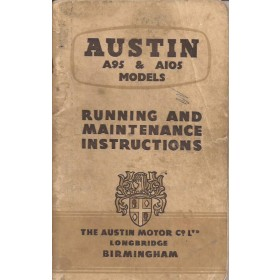 Austin A95/A105 Instructieboekje   Benzine Fabrikant 58 met gebruikssporen   Engels