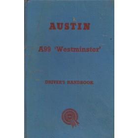 Austin A99 Instructieboekje   Benzine Fabrikant 57 met gebruikssporen   Engels