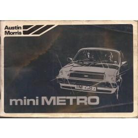 Austin Metro Instructieboekje   Benzine Fabrikant 80 met gebruikssporen lichte vochtschade, aantekeningen eerste pagina  Nederlands