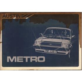 Austin Metro Instructieboekje   Benzine Fabrikant 83 met gebruikssporen vochtschade  Nederlands