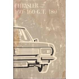 Chrysler 160/160GT/180 Instructieboekje   Benzine Fabrikant 70 met gebruikssporen aantekeningen op laatste pagina, lichte vochtschade  Nederlands