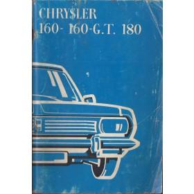 Chrysler 160/160GT/180 Instructieboekje   Benzine Fabrikant 71 met gebruikssporen   Frans