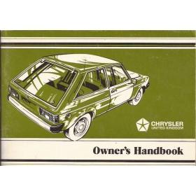 Chrysler Sunbeam Instructieboekje   Benzine Fabrikant 77 ongebruikt   Engels