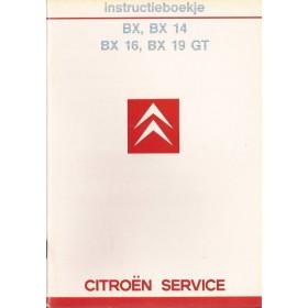 Citroen BX Instructieboekje   Benzine Fabrikant 85 ongebruikt   Nederlands