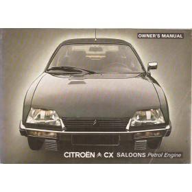 Citroen CX Instructieboekje   Benzine Fabrikant 78 met gebruikssporen met inlegvel Athena / Reflex  Engels