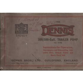 Dennis Trailer Pump Instructieboekje   - Fabrikant 39 met gebruikssporen   Engels