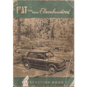 Fiat 1100 Instructieboekje  Type 103 Benzine Fabrikant 53 met gebruikssporen scheur in kaft  Engels