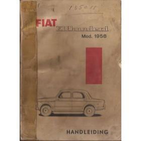 Fiat 1100 Instructieboekje   Benzine Fabrikant 58 met gebruikssporen rug gerepareerd  Nederlands