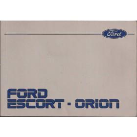 Ford Escort/Orion Instructieboekje  Mk3 Benzine/Diesel Fabrikant 87 met gebruikssporen   Nederlands