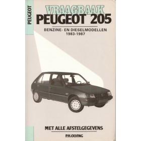 Peugeot 205 Vraagbaak P. Olving  Benzine/Diesel Kluwer 83-87 met gebruikssporen    Nederlands